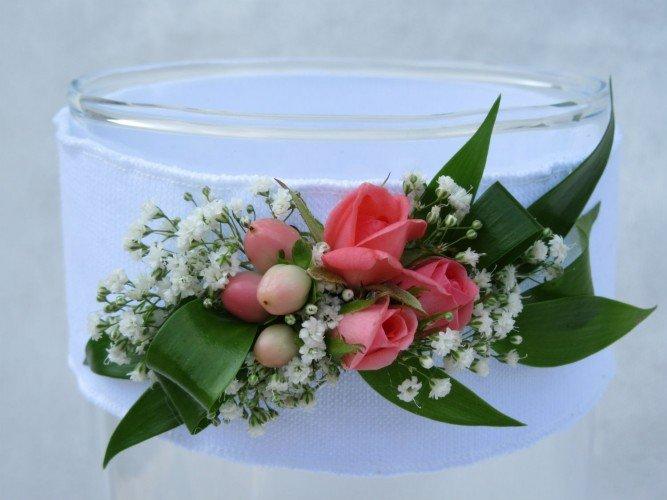 Opaska z żywymi kwiatami na chrzciny komunię świętą