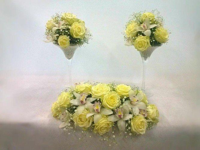 kompozycje z róż i storczyków na stół okolice Radomska