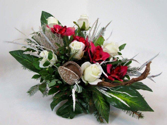 storczyki i białe róże wiązanki na grób Czestochowa