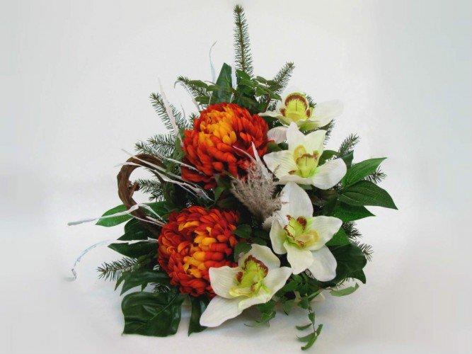 Wiązanki kompozycje na groby sztuczne kwiaty