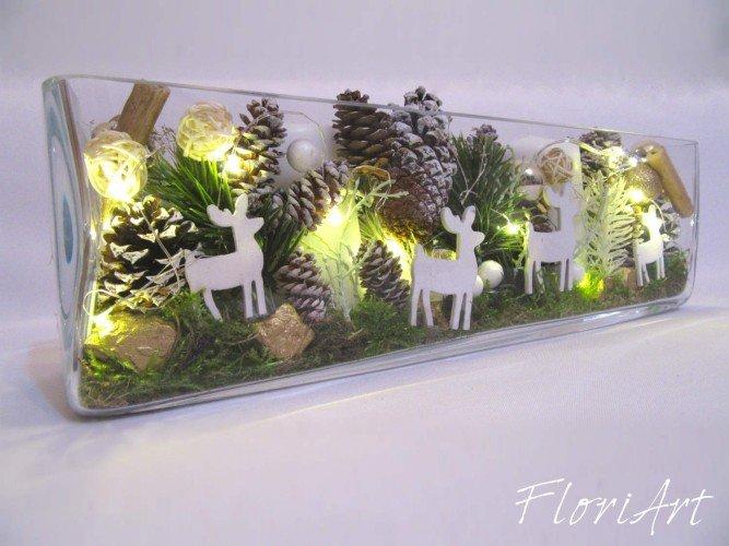 lampka kompozycja z reniferami na stół wigilijny
