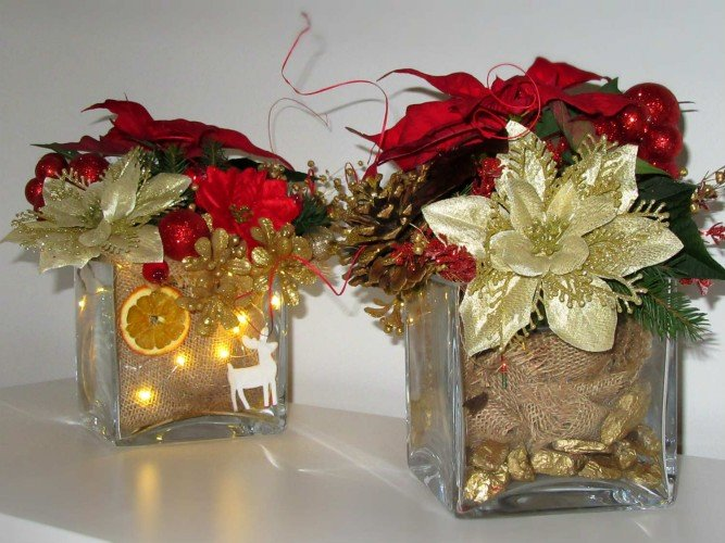 Zestaw lampka i stroik bożonarodzeniowy gwiazda betlejemska