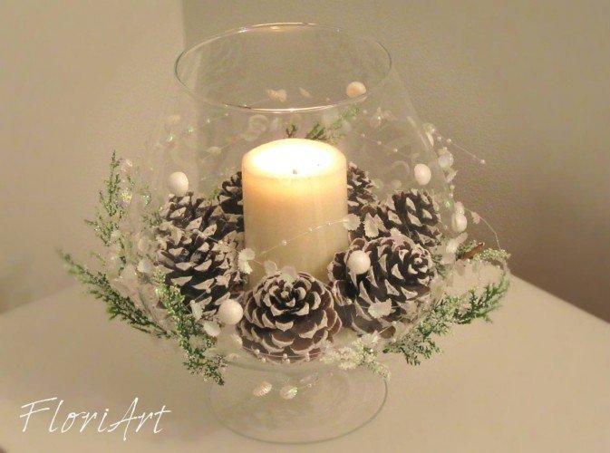 ozdoba świąteczna na stół w kielichu