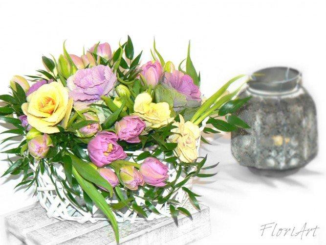 Flower box kwiaty żywe kapusta ozdobna pracownia florystyczna Częstochowa