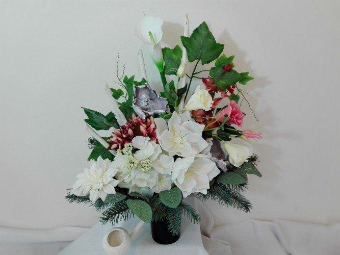 dekoracja kwiatowa do wazonu na grób