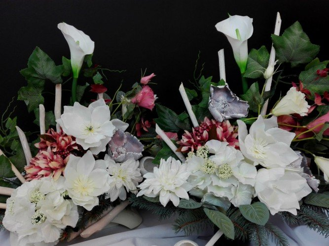 komplet kompozycji na grób sztuczne kwiaty